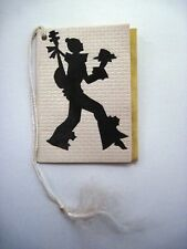 Cute Vintage Bridge Tally w/ Black Silhouette Of Clown Carrying a Mandolin *
