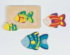 SCHICHTENPUZZLE Fisch Entwicklungspuzzle Lagenpuzzle Lernpuzzle Holz Kinder NEU