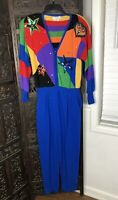 Vintage Antonella Preve Jumpsuit Small Blue Rainbow Rhinestone Sequins Beaded