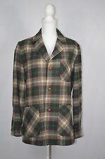 Vintage Womens Pendleton Brown Plaid Wool Shirt Jacket sz SMALL