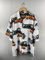 Up Ro's Phun Men's Vintage Short Sleeve Hawaiian Shirt Size 2XL White Graphic