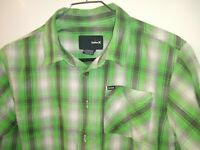 Hurley Green & white button down Plaid Shirt boys size large Excellent Condition