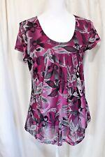 Robert Louis Purple Floral Blouse Women's Size M