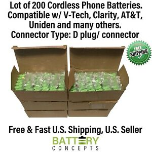 Lot of 200 Batteries - Cordless Phone Battery 2.4V AAA Ni-MH w/ D Connector/Plug