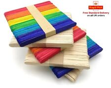 10 50 100 Wooden Lolly Lollipop Sticks Natural Rainbow Flat Standard Size Crafts
