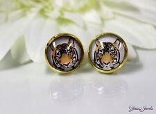 Glass Jewels Gold Ohrringe Ohrstecker Cabochon Tiger Vintage Retro #D013
