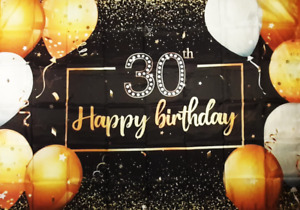 30th Birthday Backdrop Happy Party Deco with Black & Gold Background(New/Sealed)