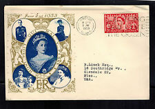 1953 England First Day Cover Queen Elizabeth 2 coronation FDC to USA QE2 FDC  3