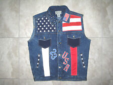 July 4th USA American Flag Biker Grunge Denim Jean Jacket Vest USED XL