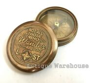 NOT ALL THOSE WHO WANDER ARE LOST Handmade Antique Brass Magnetic Compass Gift