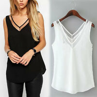 Women Female V-Neck Vest Loose Chiffon Sleeveless Tank T-Shirt Top Blouse Sexy