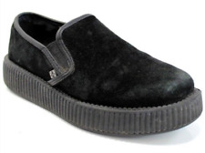 TUK Black Suede Low Creepers Slip On Rockabilly Punk Shoe Men's 5 Women's 7