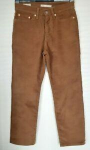 Ladies Levis Wedgie Straight Corduroys jeans tobacco brown W27 L26