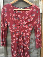 Fat Face Dress Size 8 Floral Knot Front 3/4 Sleeve Jersey Maroon Abstract