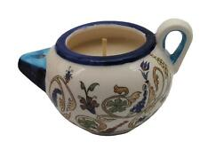 Ceramic Art Jar Decor Holder Candle Wax Memorial Armeny Holyland Holiday