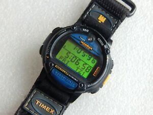 Timex Indiglo Ironman T51081 Triathlon Data Link vintage Databank Digital Watch