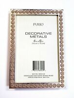 """Vintage Furio Home Gold Flower Decorative Metals Photo Frame Holds 4x6"""" Picture"""