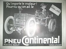 PUBLICITE DE PRESSE CONTINENTAL PNEU AUTOMOBILE ILLUSTRATION FRENCH AD 1911