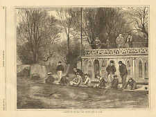 A Sketch On The Isis, The Oxford Crew At Home, College Rowing Vintage 1871 Print