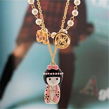 Fashion Lady Japanese Kimono Girl Pendants Cute Crystal Slippers Pearl Necklace