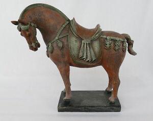 Pferdefigur Pferd Skulptur Figur Asiatika Tang Dynastie Antik Stil Shabby NY04-a