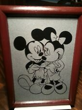 mickey mouse and minnie mouse etched glass in wood frame ~ unique one of a kind
