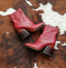 RARE!! Maison Margiela Red Maroon Leather Brown Clear Block Boots Tabi 40 Owens