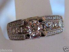 1.18 Carat 14k White Gold Diamond Ring w/Bridge Milligrain Design 7.29 Grams