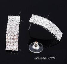 Impresionante Cristal pendientes 4 Filas X 12 filas de cristales en un marco de plata