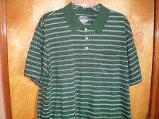 NWT NEW mens size L green white navy blue stripe MERONA s/s polo shirt free ship