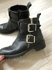 Zara Boots Size 6 Biker Black Leather Ankle Boots Buckles