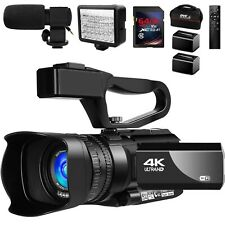 Video Camera 4K Camcorder Vlogging Camera for YouTube IR Night Vision 2 Batterie