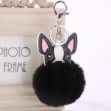 8cm PomPom Key Chain Fluffy Dog Ear Fur Bunny Ball Women 's Bag Accessories