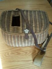 Vintage BESTMADE Wicker Fly Fishing Trout  Basket with leather strap,