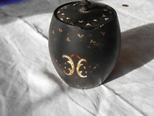 Antique wooden  treen barrel shape lidded  box ORIGINAL PAINT C 1880