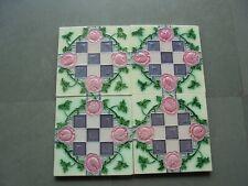 4 Pc Vintage Majolica Checks & Floral Design Nouveau Architecture Tiles,Japan