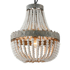 Rustic Round Wooden Beads chandelier 1 Lights Ceiling Fixture Pendant Lamp