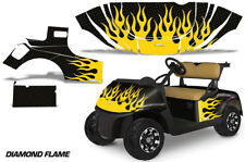 Golf Cart Graphics Kit Decal Sticker Wrap For EZ-Go TXT 2014-2018 DFLAME YLW BLK