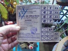 """Ancienne Carte de Rationnement  Coupon """"X"""" CARTE de CHARBON CUISINE 1944.1945"""