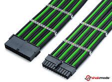 24 Pines Atx Psu 30cm Cable de extensión Verde Negro De Manga Larga en fuente de alimentación shakmods Reino Unido