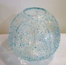 BLUE & CLEAR BALL GLASS VASE  -  UNIQUE STYLE - HANDMADE