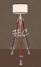 Nautical Wooden Chrome Tripod Table Lamp Stand Vintage Marine Floor Shade Lamp