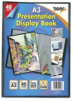A3 Premium Black Cover Display Book Presentation Folder Portfolio - 40 Pocket