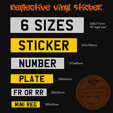 Stick on Number Plate - 3 Sizes - mini small UK Full Size Reflective Vinyl
