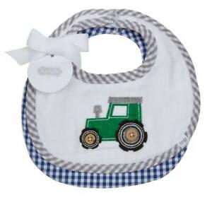 Mud Pie Farmhouse Blue Gingham Tractor Muslin Bib Set