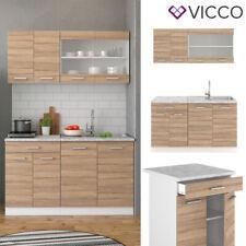 VICCO Küchenzeile SINGLE Einbauküche 140 cm Küche Sonoma Eiche R-LINE