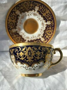 COALPORT JEWELED GOLD GILDED CUP & SAUCER Y689Y/E - IMPRESSED 14B7 - A/F