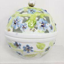 Limoges Sugar Bowl Hand Painted Artist Signed International Porcelain Artists