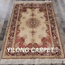 YILONG 4'x6' Handmade Silk Carpet Family Room Home Oriental Area Rug YWX064A