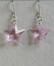 Stunning STERLING SILVER 925 Pink CRYSTAL 20mm STAR EARRINGS SWAROVSKI Elements